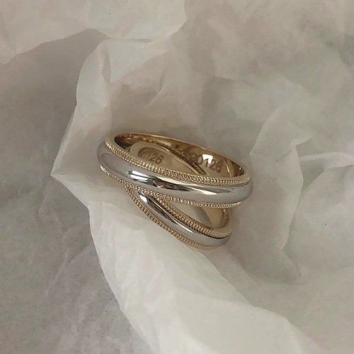 14K Lettering couple ring